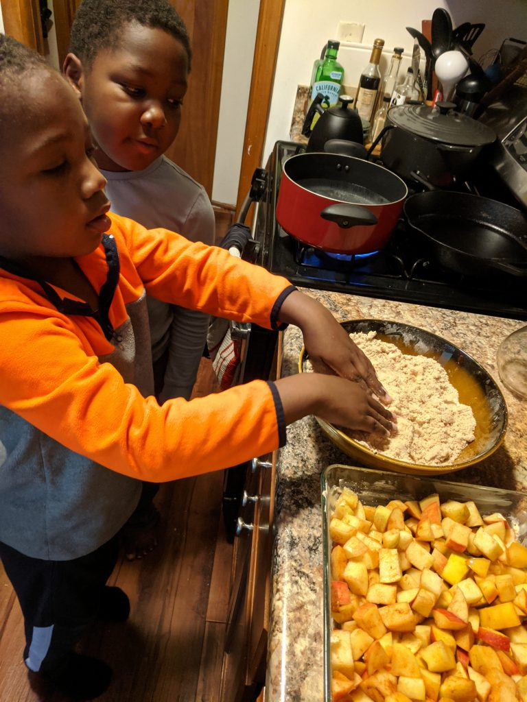 Preparing Apple Crisp Topping